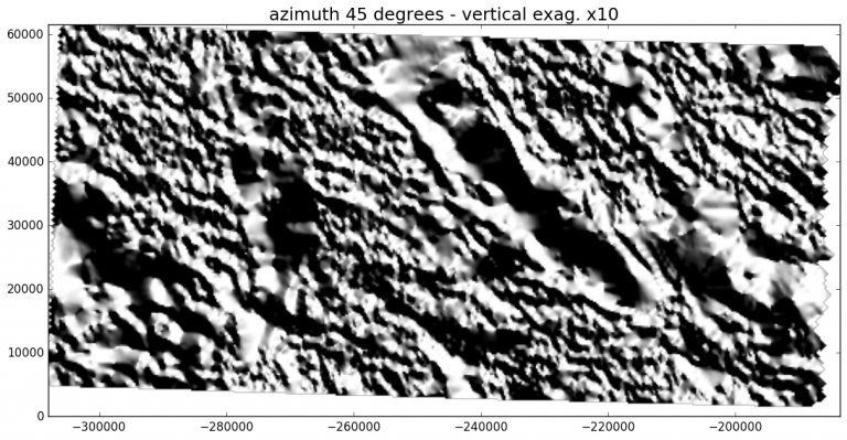 Magnetic anomalies in an area of New Mexico. Hillshading is generated with a light source in the northeast corner.